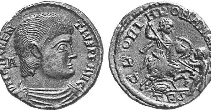 Антични монети от типа  Войник пронизва паднал вражески конник