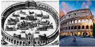 Древните римляни наводнили  Колизеума, за да пресъздадат известните военноморски битки .