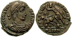 Антични монети-Войник пронизва паднал вражески конник